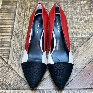 Nine West wedges size 8.5 black and red